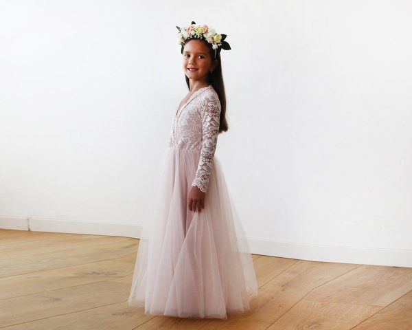 Tulle and lace long sleeves Pink Flower Girls Gown 5043