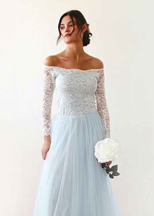 Two Colors wedding dress Off-Shoulder Lace gown Lace And Tulle Dress Bridesmaids dress 1134