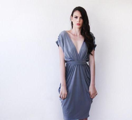 Urban gray backless maxi bridesmaid dress SALE 1008