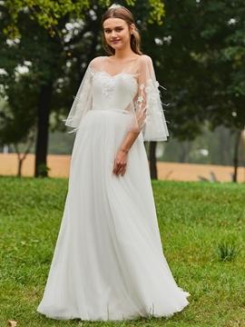 V Neck A Line Tulle Appliques Wedding Dress