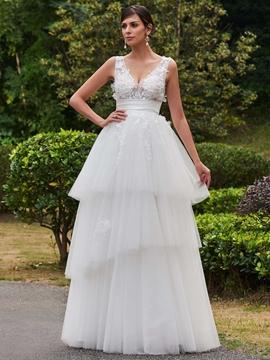 V Neck Appliques A Line Wedding Dress