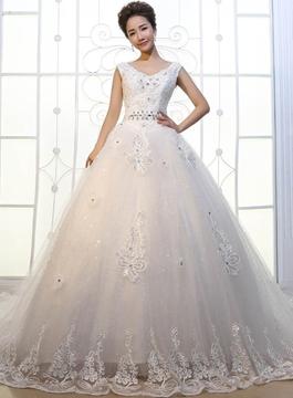 V-Neck Appliques Cathedral Train Wedding Dress