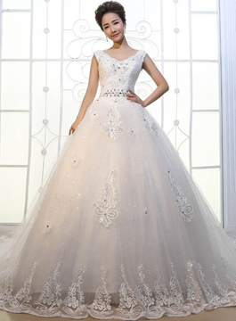V-Neck Appliques Cathedral Train Wedding Dress