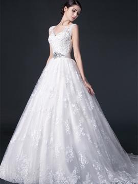 V-Neck Appliques Lace Wedding Dress