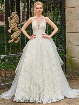 V Neck Lace Ball Gown Backless Wedding Dress