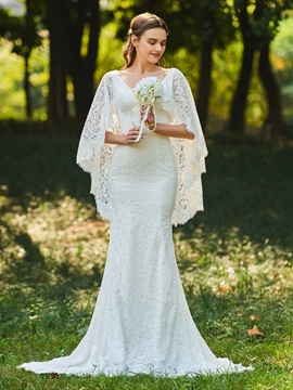 V Neck Lace Mermaid Backless Wedding Dress