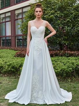 Vantage Appliques A-Line V-Neck Wedding Dress