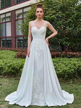 Vantage Appliques A-Line V-Neck Wedding Dress