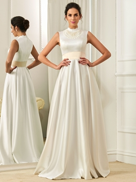 Vintage High Neck A Line Wedding Dress