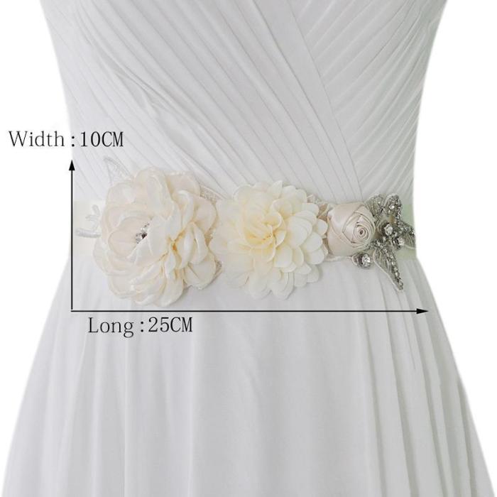 Wedding Belts Satin Flower Pearl Decoration Wedding Dress Belt Wedding Accessories Bridal Ribbon Sash Belt Cinturon De Novia