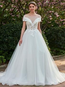 A-Line 3D Floral Lace Applique Long Wedding Dress