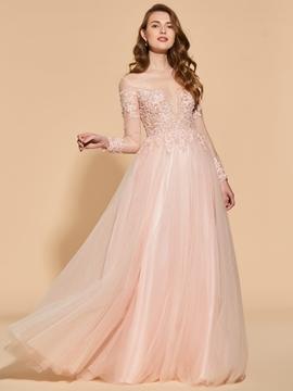 A Line Applique Lace Long Sleeve Prom Dress