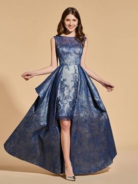 A Line Asymmetry High Low Backless Lace Prom Dress