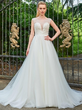 A Line Beaded Chapel Train Wedding Dress