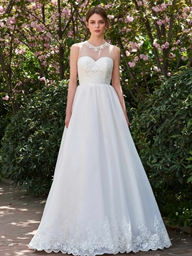 A Line Lace Jewel Appliques Garden Wedding Dress