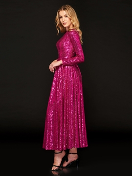 A Line Long Sleeve Sequin Prom Dress