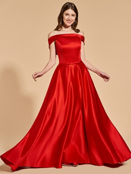A Line Off The Shoulder Deep Back Long Prom Dress
