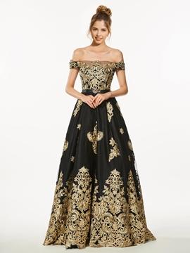A-Line Off-the-Shoulder Appliques Long Prom Dress