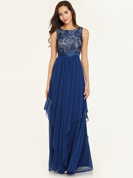 A Line Scoop Neck Zipper-Up Ankle-Length Prom Dress