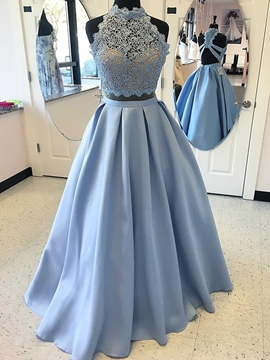 A Line Two-Pieces Lace Satin Prom Dress With Cross Back