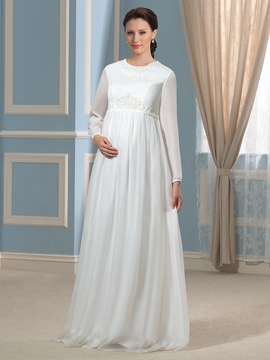 Beautiful Jewel Long Sleeves Maternity Wedding Dress