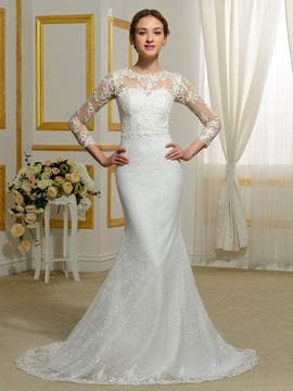 Charming Jewel Long Sleeves Lace Wedding Dress
