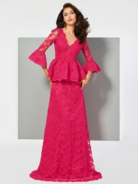 Cute A Line 3-4 Sleeve Lace Evening Dress With Button Back