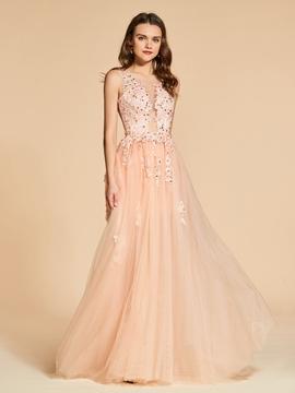 Cute A Line Applique Beaded Backless Evening Dress