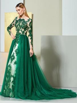 Cute A Line Applique Long Sleeve Evening Party Dress