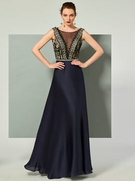 Cute A Line Lace Deep Back Long Evening Dress