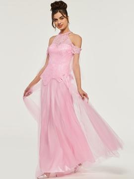 Cute A-Line Lace High Neck Long Evening Dress