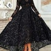 Cute A-Line Long Sleeve Asymmetrical Lace Evening Dress