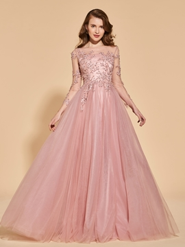Cute A Line Long Sleeve Evening Dress With Beadings And Applique
