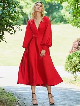 Cute A Line Long Sleeve Tea Length Red Evening Dress