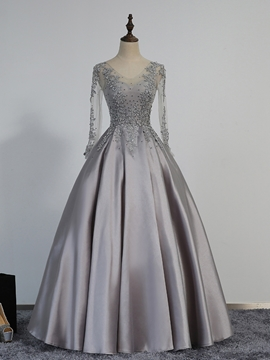 Cute A-Line Long Sleeves Evening Dress With Appliques And Beadings