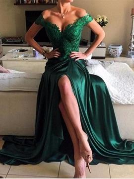 Cute A Line Off The Shoulder Applique Evening Dress With Side Slit