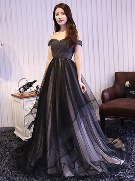 Cute A-Line Off-the-Shoulder Pleats Tulle Evening Dress