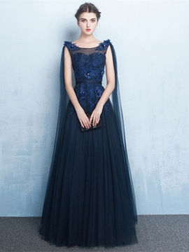Cute A-Line Scoop Appliques Beading Flowers Floor-Length Evening Dress