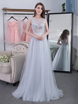 Cute A-Line Scoop Appliques Beading Sashes Floor-Length Evening Dress
