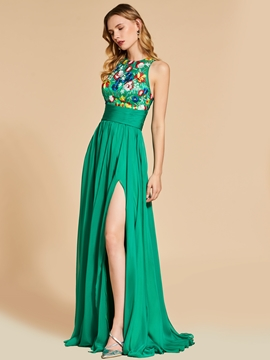 Cute A Line Scoop Neck Empire Embroidery Evening Dress With Side Slit