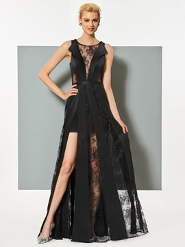 Cute A Line Sheer Lace Slit Floor Length Evening Dress