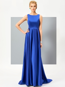 Cute A Line Sleeveless Satin Lace Back Court Train Evening Dress
