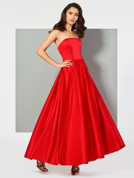 Cute A Line Strapless Ankle Length Evening Dress