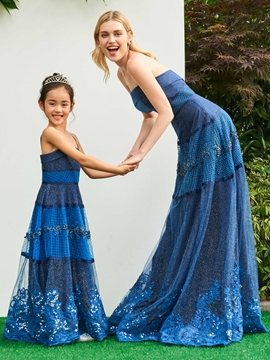 Cute A Line Strapless Applique Beaded Long Parent-Child Evening Dress