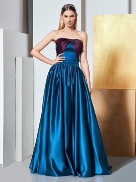 Cute A Line Strapless Contrast Long Elegant Prom Dress
