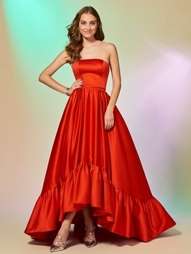 Cute A Line Strapless High Low Asymmetry Evening Dress