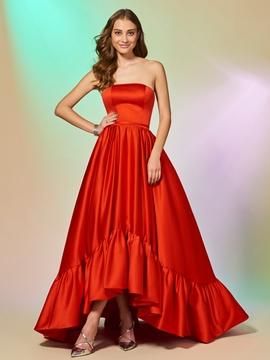 Cute A Line Strapless High Low Asymmetry Evening Dress