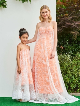 Cute A Line Strapless Lace Layers Parent-Child Evening Dress