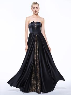 Cute A-Line Strapless Lace Sequins Long Evening Dress