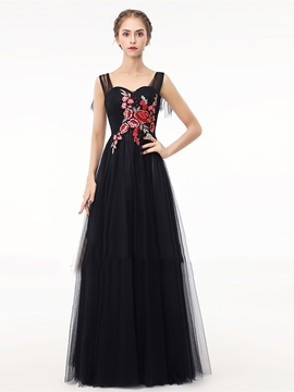 Cute A Line Straps Embroidery Long Evening Dress